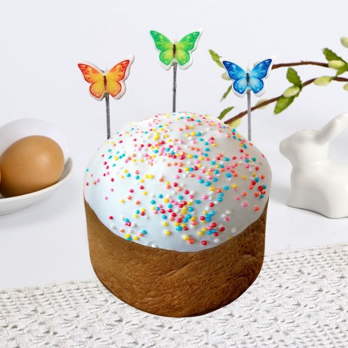 Пасхальный набор свечей для кулича «Бабочки»