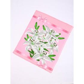Полотенце вафельное Белые цветы 45х60 см, розовый, 160г/м2, хлопок 100%