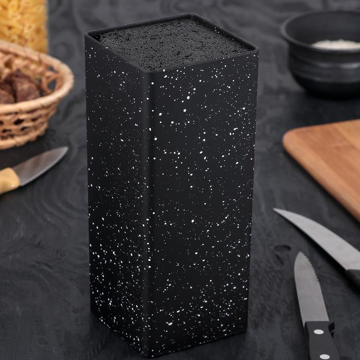 """Подставка для ножей с наполнителем 22х10 см """"Зефир"""", цвет чёрный"""