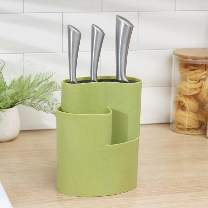 """Подставка для ножей и столовых приборов 18х11 см """"Нежность"""", цвет зелёный"""