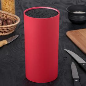 """Подставка для ножей с наполнителем 22х11 см """"Нео"""", покрытие Soft-touch, цвет красный"""