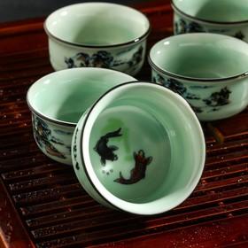 Набор для чайной церемонии «Шуйсянь», 9 предметов: чайник 250, 6 пиал 50 мл, чахай 200 мл, сито, подставка