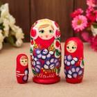 "Matryoshka ""Mom"", red dress, 3 doll 9 cm"