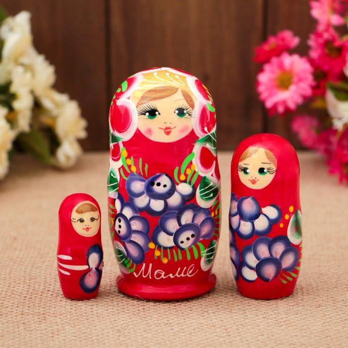 Матрёшка «Маме», красное платье, 3 кукольная, 9 см