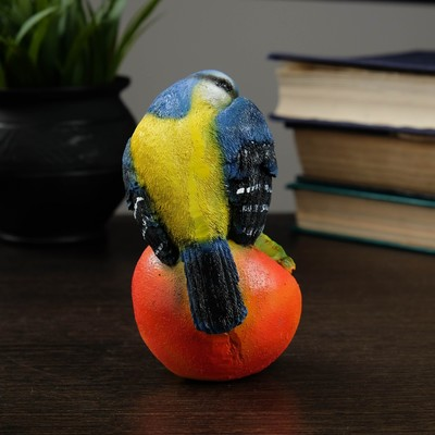 """Садовая фигура """"Птица на яблоке"""" цветная, 12х8,5см"""