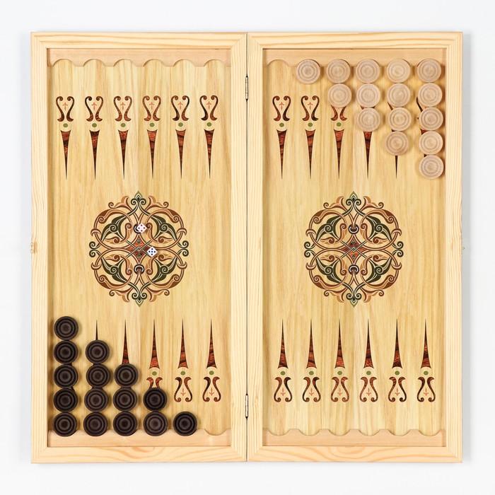 """Нарды """"Настоящему мужчине"""", деревянная доска 60х60 см, с полем для игры в шашки"""