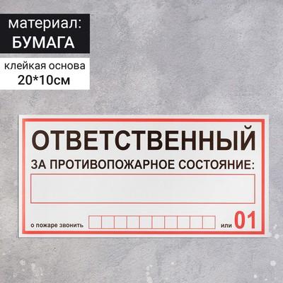 """Наклейка знак """"Ответственный за пожарную безопасность"""", 20х10 см"""