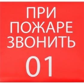 Наклейка знак 'При пожаре звонить 01', 20х20 см Ош