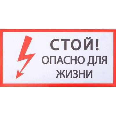 """Наклейка знак """"Стой! Опасно для жизни!"""", 20х10 см"""