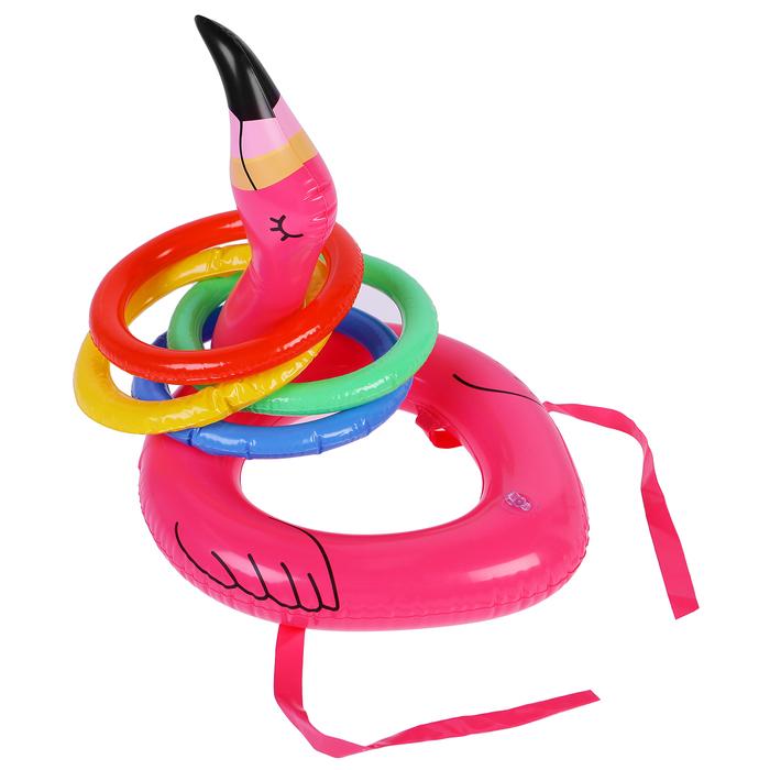 Игрушка надувная «Кольцеброс-фламинго», 30 см, с 4 кольцами