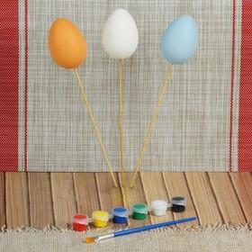 Набор яиц на палочке под раскраску 3 шт, размер 1 шт 5*7 см, краски 6 шт по 3 мл