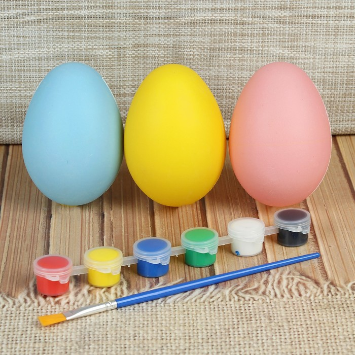 Набор яиц под раскраску 3 шт, размер 1 шт 7*9 см, краски 6 шт по 3 мл, кисть