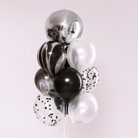 """Букет из шаров """"Оттенки темного и светлого"""", латекс, фольга, набор 10 шт."""