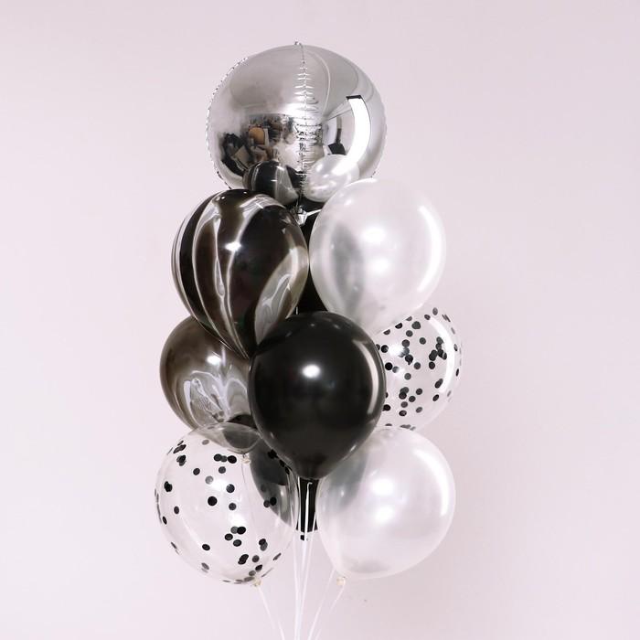 """Букет из шаров """"Оттенки темного и светлого"""", латекс, фольга, набор 10 шт. - фото 308473010"""