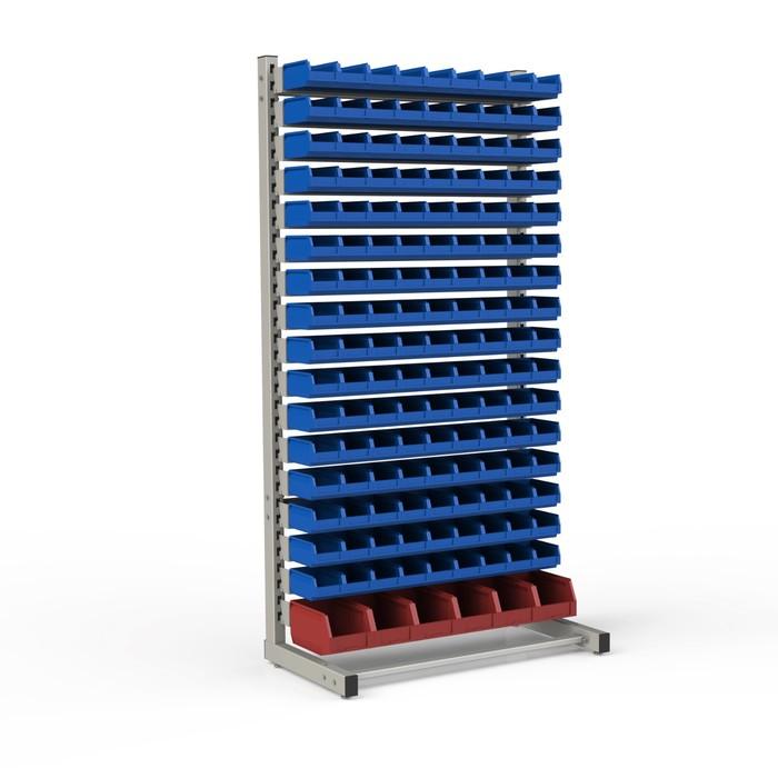 Стеллаж односторонний 950*510*1835, 144 лотка 1л, 6 лотков 4л, 17 кронштейнов