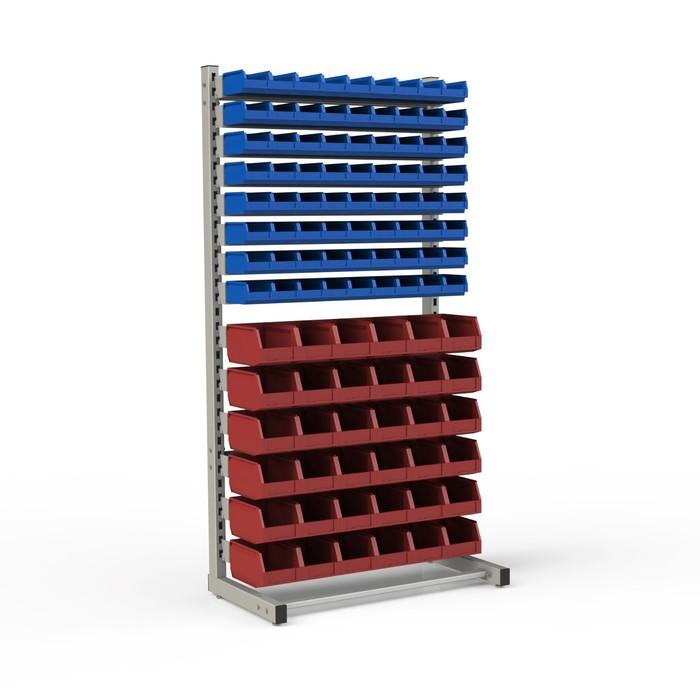 Стеллаж односторонний 950*510*1835, 72 лотка 1л, 36 лотков 4л, 14 кронштейнов