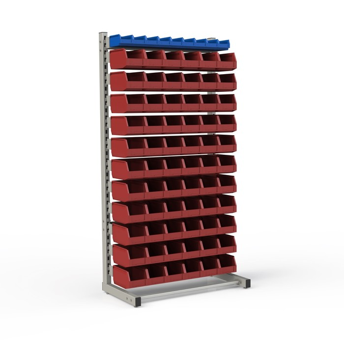 Стеллаж односторонний 950*510*1835, 9 лотков 1л, 66 лотков 4л, 12 кронштейнов