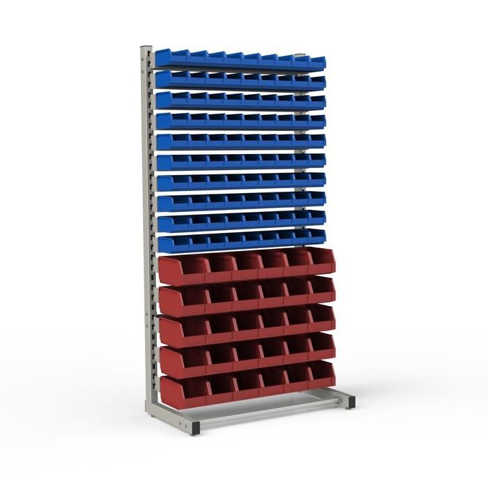 Стеллаж односторонний 950*510*1835, 90 лотков 1л, 30 лотков 4л, 15 кронштейнов