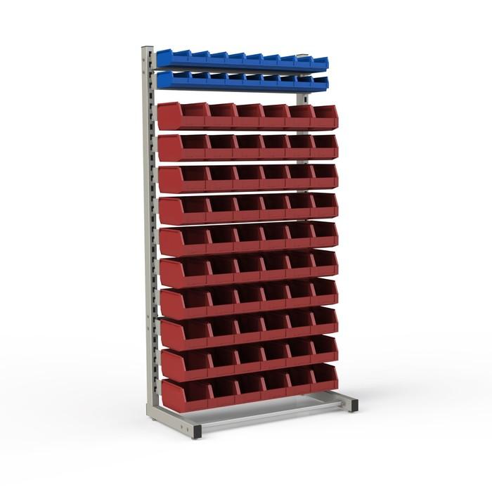 Стеллаж односторонний 950*510*1835, 18 лотков 1л, 60 лотков 4л, 12 кронштейнов