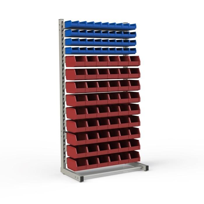 Стеллаж односторонний 950*510*1835, 36 лотков 1л, 54 лотка 4л, 13 кронштейнов