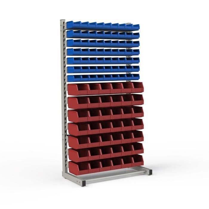 Стеллаж односторонний 950*510*1835, 63 лотка 1л, 42 лотка 4л, 14 кронштейнов