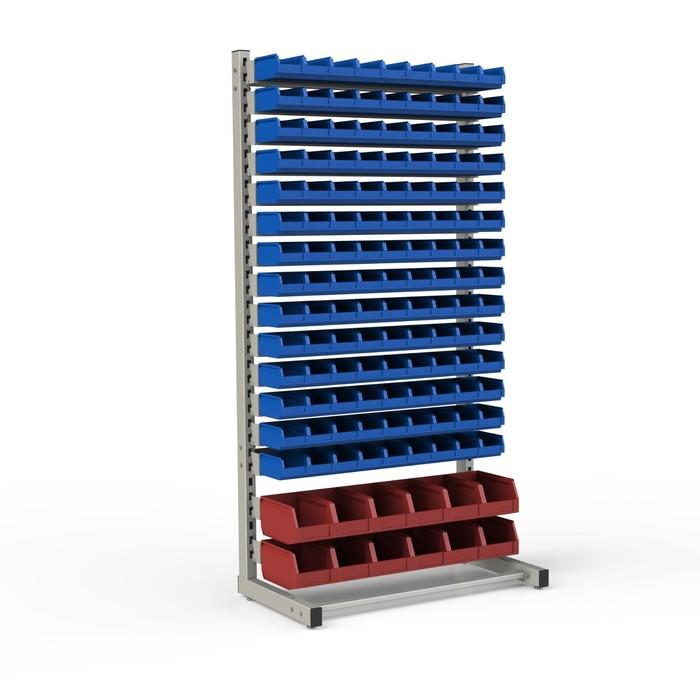 Стеллаж односторонний 950*510*1835, 126 лотков 1л, 12 лотков 4л, 16 кронштейнов