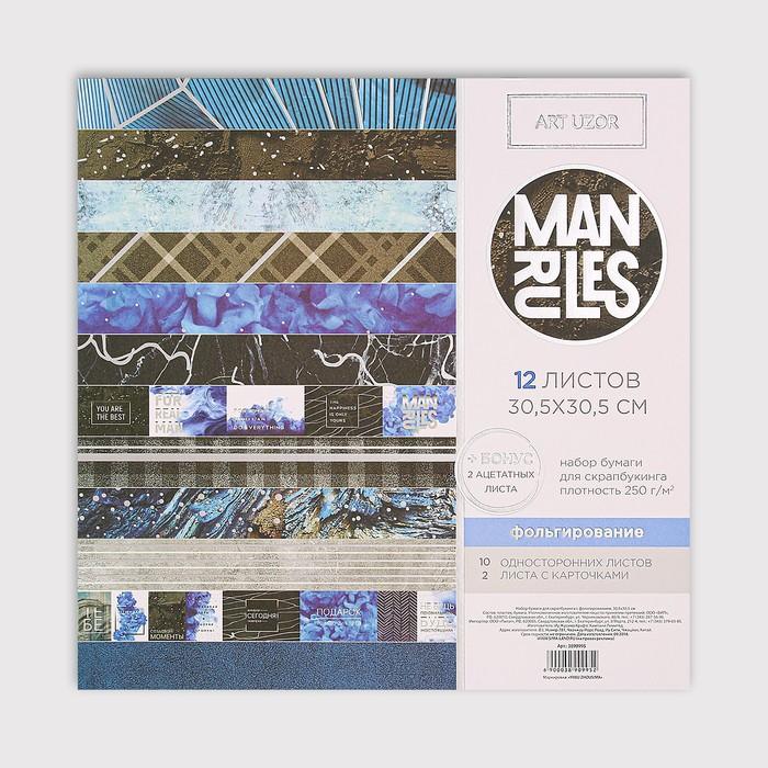 Набор бумаги для скрапбукинга с фольгированием Man rules, 12 листов, 30.5 × 30.5 см