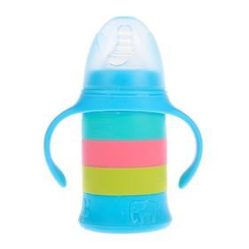 Бутылочка для кормления стеклянная, с чехлом, 180 мл, цвет МИКС