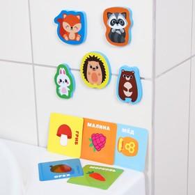Набор игровой развивающий «Лесные друзья», 10 предметов: 5 игрушек из EVA + 5 карточек