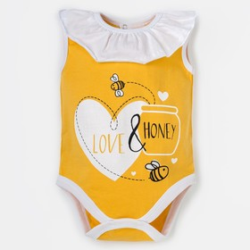 """Боди Крошка Я """"Love & honey"""", жёлтый, р. 22, рост 62-68 см"""