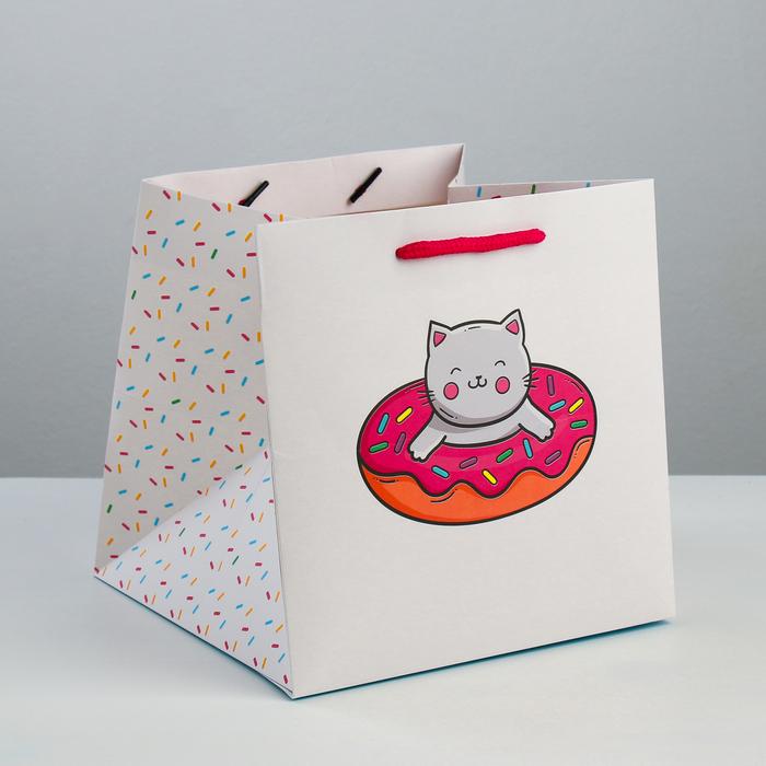 Пакет квадратный «Счастье есть», 20 × 20 × 20 см - фото 290782794