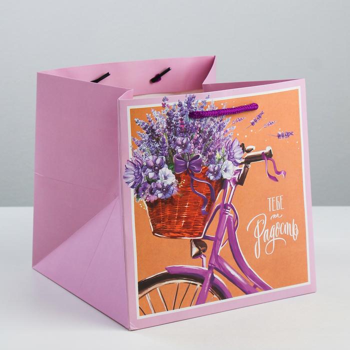Пакет квадратный «Тебе на радость», 20 × 20 × 20 см - фото 308285551