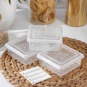 Набор емкостей для заморозки квадратных 0,5 л, 3 шт