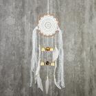 """Ловец снов с музыкой ветра """"Белое кружево с белыми перьями"""" 4 колокола d=16 см длина 70 см"""