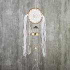 """Ловец снов с музыкой ветра """"Белое кружево с серыми перьями"""" 4 колокола d=16 см длина 75 см"""
