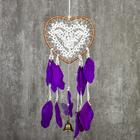 """Ловец снов с колокольчиком """"Сердце с кружевом, фиолетовые перья"""" d=17 см длина 55 см"""