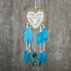 """Ловец снов с колокольчиком """"Сердце с кружевом, голубые перья"""" d=17 см длина 55 см"""