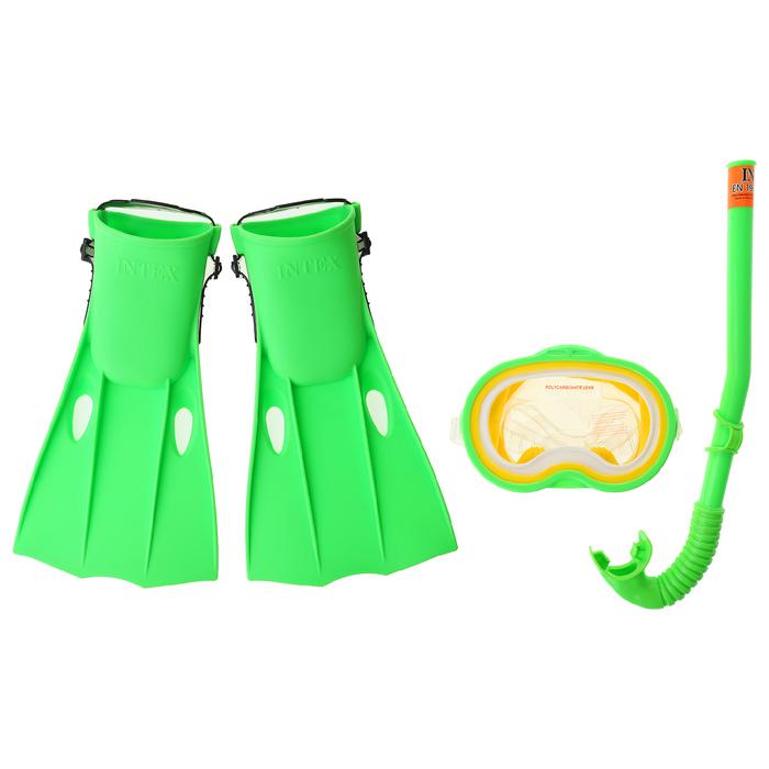 Набор для подводного плавания Мастер Класс, 3 предмета: маска, трубка, ласты, от 8 лет INTEX