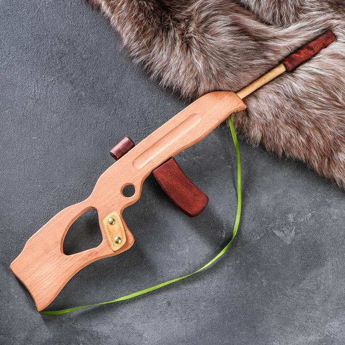 """Сувенирное деревянное оружие """"Автомат с глушителем"""", 60 х 15 см, массив бука - фото 76278303"""