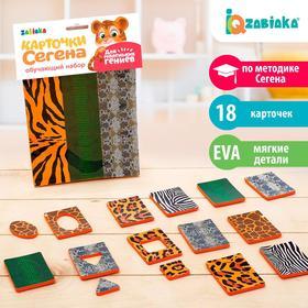 Обучающий набор «Карточки Сегена. Звериный окрас», 18 карточек, материал EVA, по методике Монтессори