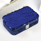 "Box textile jewelry ""Sequins"" Indigo rectangular 5,5х19х12 cm"