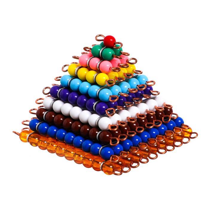 Игра по методике Монтессори «Квадраты из цветных бусин»