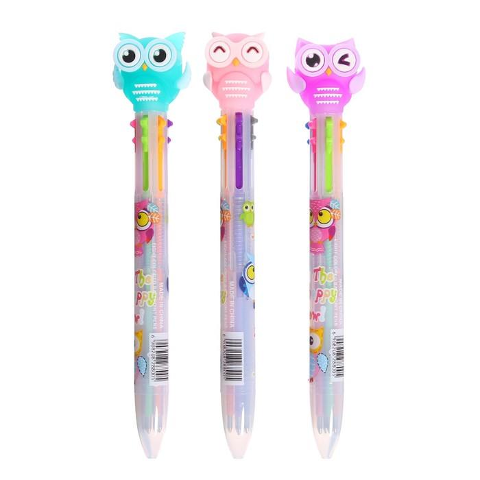 Ручка шариковая, автоматическая, 6-ти цветная, «Совы» - фото 543787932