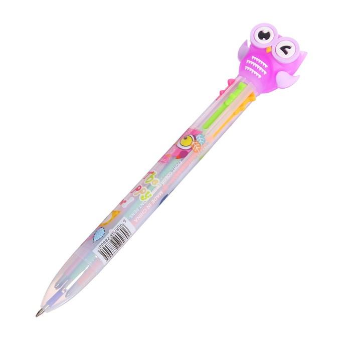 Ручка шариковая, автоматическая, 6-ти цветная, «Совы» - фото 543787933