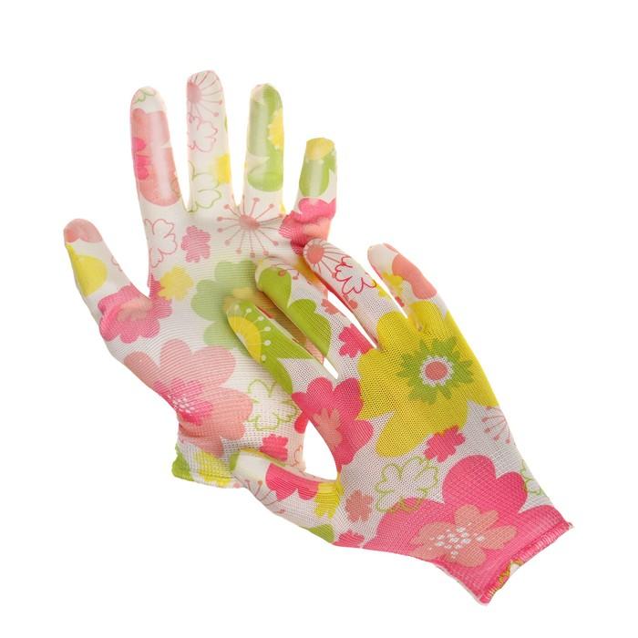 Перчатки нейлоновые, с нитриловым полуобливом, размер 8, цвет МИКС