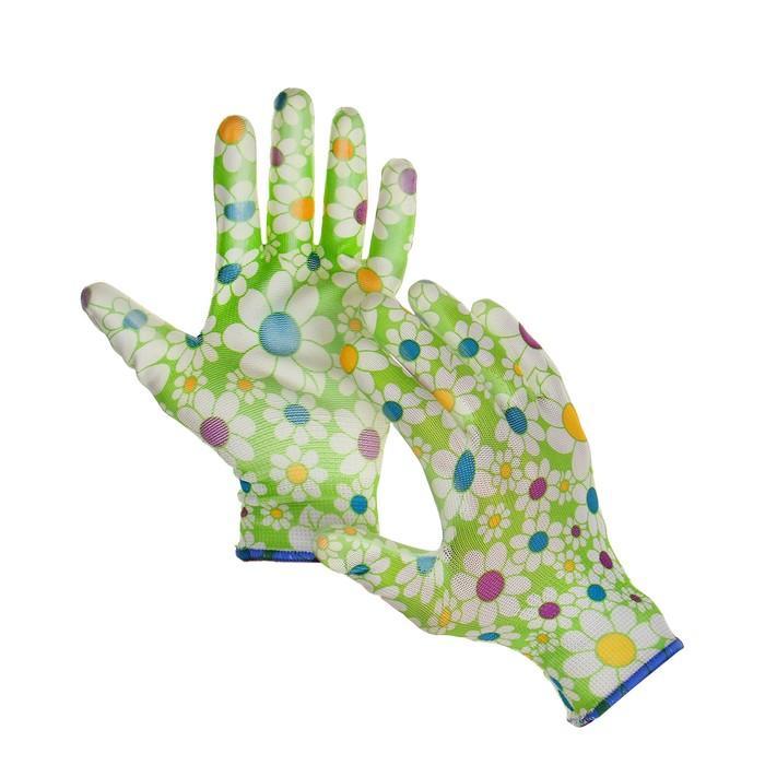 Перчатки нейлоновые, с ПВХ полуобливом, размер 10, цвет МИКС