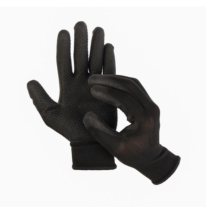 Перчатки нейлоновые, с ПВХ точками, полуоблив, размер 8, чёрные