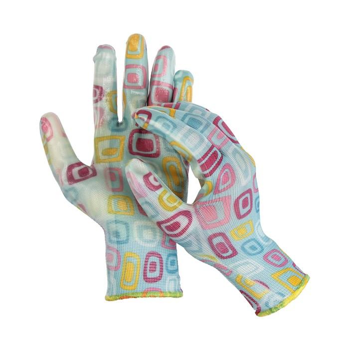 Перчатки нейлоновые, с нитриловым полуобливом, размер 9, цвет МИКС