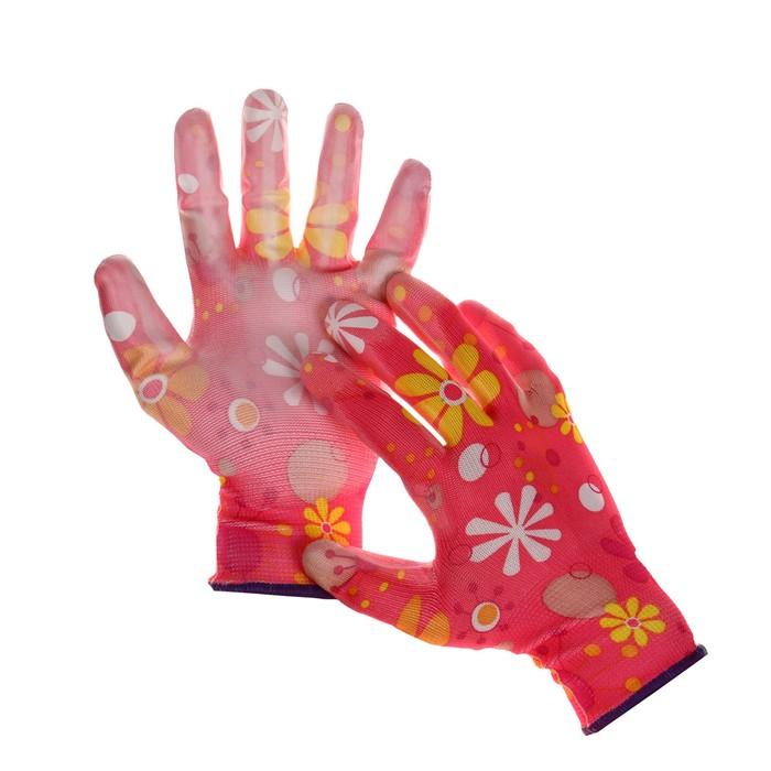 Перчатки нейлоновые, с ПВХ полуобливом, размер 8, цвет МИКС