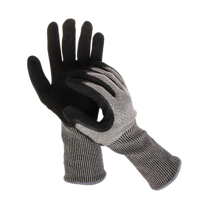 Перчатки нейлоновые, латексный полуоблив, повышенной прочности, чёрные